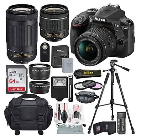 Nikon-D3400-bundle-with-lenses-and-tripod